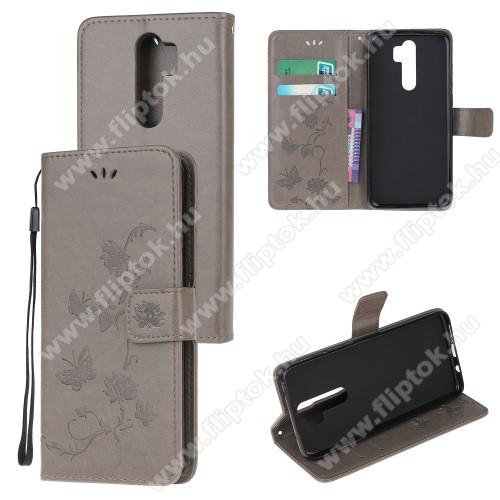 Notesz tok / flip tok - SZÜRKE - GRAVÍROZOTT VIRÁG ÉS PILLANGÓ MINTÁS - asztali tartó funkciós, oldalra nyíló, rejtett mágneses záródás, bankkártyatartó zseb, szilikon belső - Xiaomi Redmi Note 8 Pro