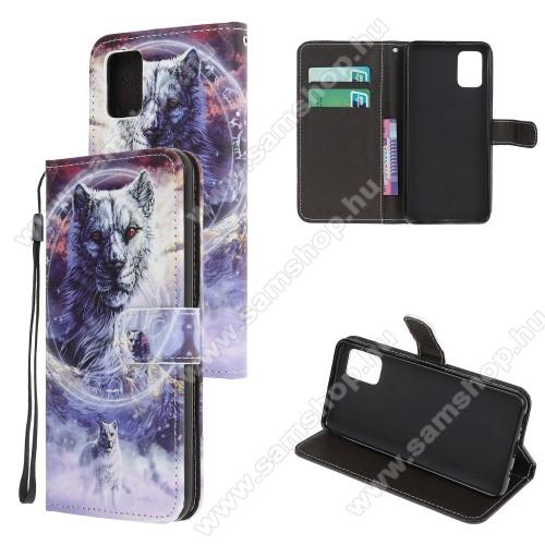 Notesz tok / flip tok - TIGRIS MINTÁS - asztali tartó funkciós, oldalra nyíló, rejtett mágneses záródás, bankkártyatartó zseb, szilikon belső - SAMSUNG Galaxy A51 (SM-A515F)