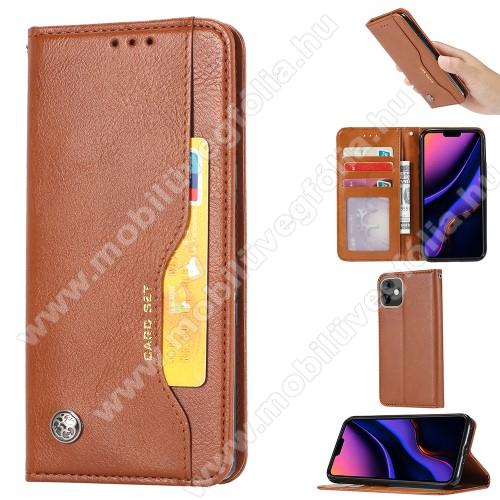 Notesz tok / flip tok - VILÁGOSBARNA - asztali tartó funkciós, oldalra nyíló, rejtett mágneses záródás, bankkártya tartó zsebekkel, szilikon belső - APPLE iPhone 11