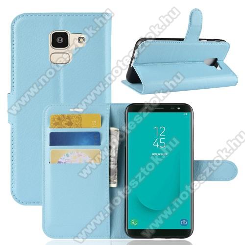 Notesz tok / flip tok - VILÁGOSKÉK - asztali tartó funkciós, oldalra nyíló, rejtett mágneses záródás, bankkártyatartó zseb, szilikon belső - SAMSUNG SM-J600F Galaxy J6 (2018)
