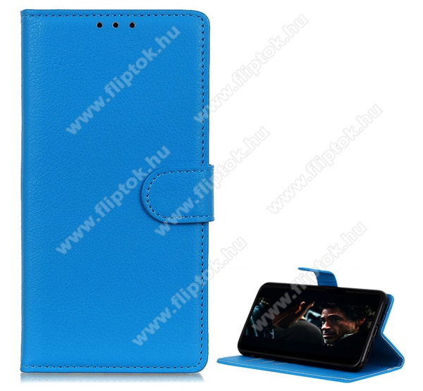 Notesz tok / flip tok - VILÁGOSKÉK - asztali tartó funkciós, oldalra nyíló, rejtett mágneses záródás, bankkártyatartó zseb, szilikon belső - OnePlus 7T Pro