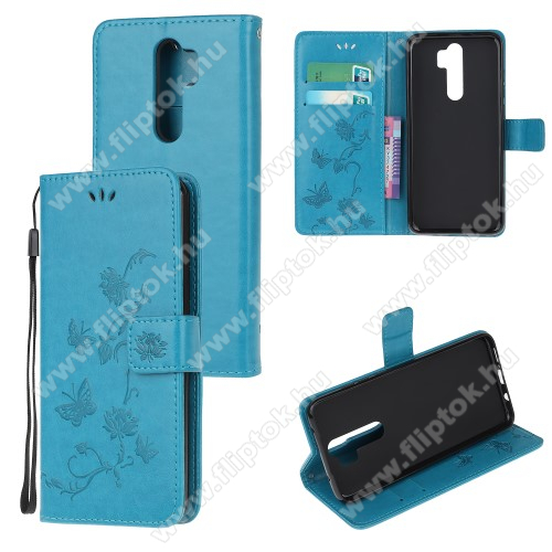 Notesz tok / flip tok - VILÁGOSKÉK - GRAVÍROZOTT VIRÁG ÉS PILLANGÓ MINTÁS - asztali tartó funkciós, oldalra nyíló, rejtett mágneses záródás, bankkártyatartó zseb, szilikon belső - Xiaomi Redmi Note 8 Pro