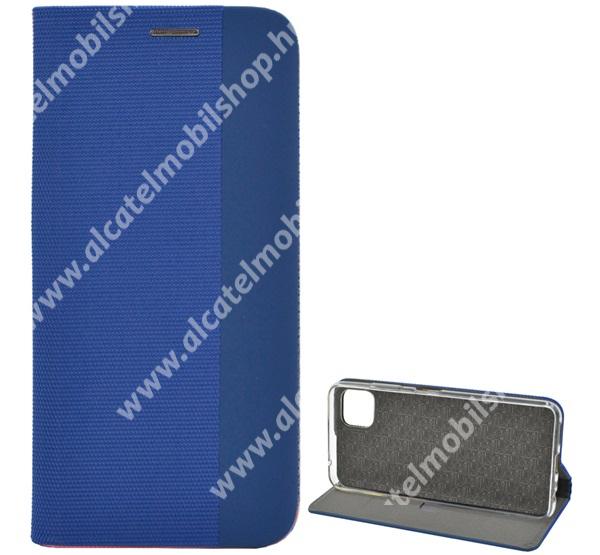 Notesz tok / flip tok - VILÁGOSKÉK - szövettel bevont, asztali tartó funkciós, oldalra nyíló, bankkártya tartó zseb, szilikon belső - SAMSUNG Galaxy A22 5G (SM-A226) / Galaxy F42 5G (SM-E426B/DS)