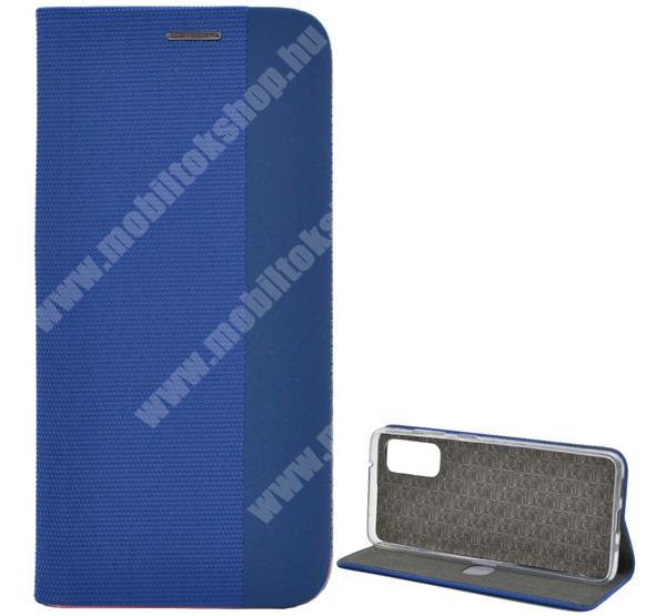 Notesz tok / flip tok - VILÁGOSKÉK - textil hatás, asztali tartó funkciós, oldalra nyíló, bankkártya tartó zseb, szilikon belső - SAMSUNG SM-G980F Galaxy S20 / SAMSUNG SM-G981F Galaxy S20 5G