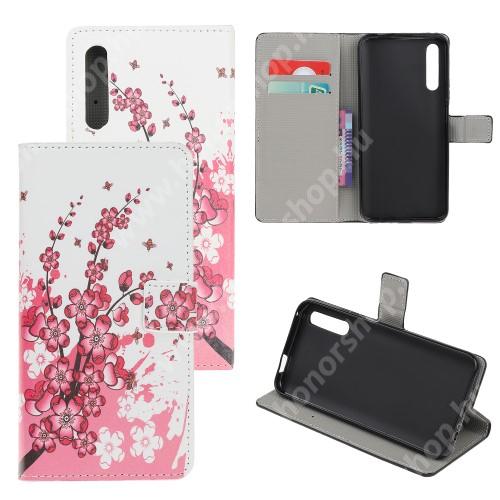 HUAWEI Honor 9X (For China market)Notesz tok / flip tok - VIRÁGZÓ FA MINTÁS - asztali tartó funkciós, oldalra nyíló, rejtett mágneses záródás, bankkártyatartó zseb, szilikon belső - HUAWEI P smart Pro (2019) / HUAWEI Y9s / Honor 9X (For China market) / Honor 9X Pro (For China)