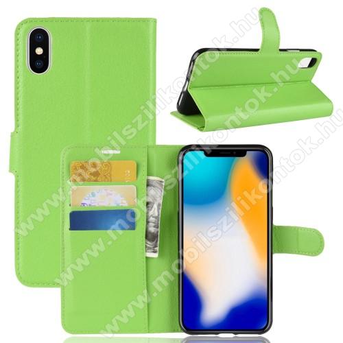 Notesz tok / flip tok - ZÖLD - asztali tartó funkciós, oldalra nyíló, rejtett mágneses záródás, bankkártyatartó zseb, szilikon belső - APPLE iPhone XS Max