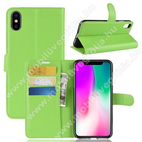 Notesz tok / flip tok - ZÖLD - asztali tartó funkciós, oldalra nyíló, rejtett mágneses záródás, bankkártyatartó zseb, szilikon belső - APPLE iPhone Xr