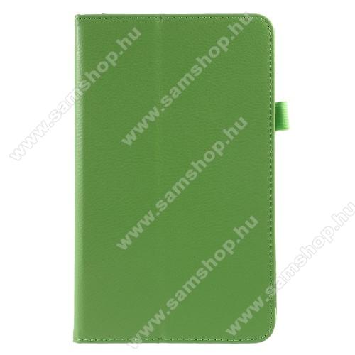 Notesz tok / mappa tok - asztali tartó funkciós, oldalra nyíló, rejtett mágneses záródás - ZÖLD - SAMSUNG SM-T380 Galaxy Tab A 8.0 (2017) / SAMSUNG SM-T385 Galaxy Tab A 8.0 (2017) (4G/LTE)