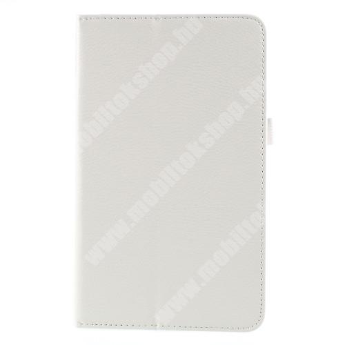 Notesz tok / mappa tok - asztali tartó funkciós, oldalra nyíló, rejtett mágneses záródás - FEHÉR - SAMSUNG SM-T380 Galaxy Tab A 8.0 (2017) / SAMSUNG SM-T385 Galaxy Tab A 8.0 (2017) (4G/LTE)