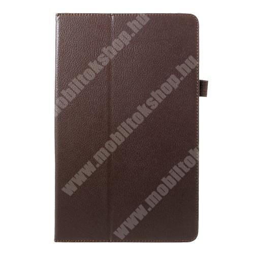 Notesz tok / mappa tok - asztali tartó funkciós, oldalra nyíló - BARNA - SAMSUNG SM-T590 Galaxy Tab A 10.5 Wi-Fi / SAMSUNG SM-T595 Galaxy Tab A 10.5 LTE