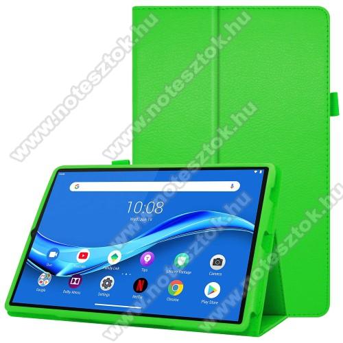 Lenovo Tab M10 Plus (TB-X606F)Notesz tok / mappa tok - asztali tartó funkciós, oldalra nyíló, ceruzatartó, műbőr belső - ZÖLD - Lenovo Tab M10 Plus (TB-X606F)