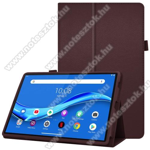 Lenovo Tab M10 Plus (TB-X606F)Notesz tok / mappa tok - asztali tartó funkciós, oldalra nyíló, ceruzatartó, műbőr belső - KÁVÉBARNA - Lenovo Tab M10 Plus (TB-X606F)