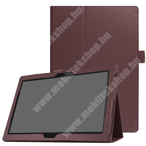 Notesz tok / mappa tok - asztali tartó funkciós, oldalra nyíló - BARNA - Lenovo Tab 4 10 / Lenovo Tab 4 10 Plus