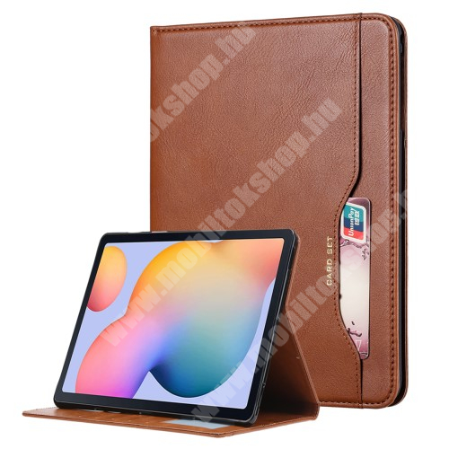 Notesz tok / mappa tok - BARNA - asztali tartó funkciós, oldalra nyíló, mágneses záródás, bankkártya tartó zsebek külső/belső, szilikon belső - SAMSUNG Galaxy Tab A7 Lite (SM-T220 / SM-T225)