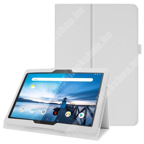 Notesz tok / mappa tok - FEHÉR - asztali tartó funkciós, oldalra nyíló, tolltartó, műbőr belső - Lenovo Tab P10 (TB-X705F)