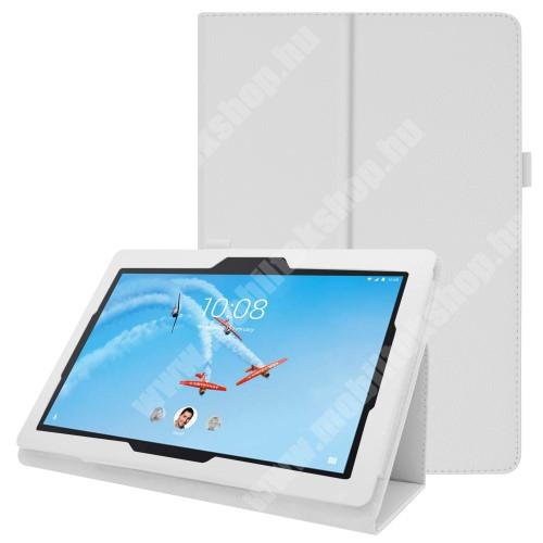 Notesz tok / mappa tok - FEHÉR - asztali tartó funkciós, oldalra nyíló, tolltartó, műbőr belső - Lenovo Tab E10