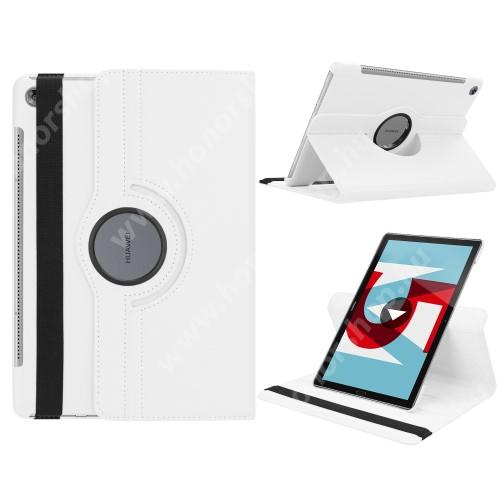 Notesz tok/ mappa tok - FEHÉR - gumis záródás, asztali tartó funkcióval, 360°-ban elforgatható - HUAWEI MediaPad M5 10 (2018) / HUAWEI MediaPad M5 10 Pro (2018)