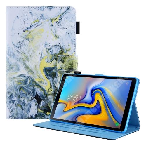 Notesz tok / mappa tok - FEHÉR / SÁRGA MÁRVÁNY MINTÁS - asztali tartó funkciós, oldalra nyíló, bankkártyatartó zsebekkel, ceruzatartó, szilikon belső - SAMSUNG Galaxy Tab A7 Lite (SM-T220 / SM-T225)