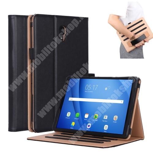 Notesz tok / mappa tok - FEKETE - asztali tartó funkciós, oldalra nyíló, bankkártya tartó, csuklópánt, bőr belső, tolltartó - SAMSUNG SM-T590 Galaxy Tab A 10.5 Wi-Fi / SAMSUNG SM-T595 Galaxy Tab A 10.5 LTE