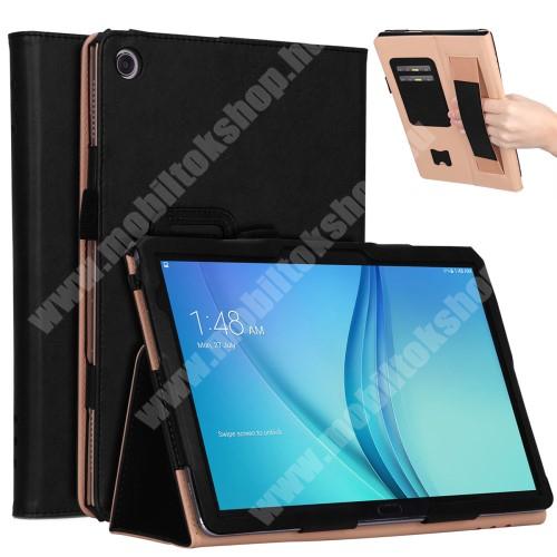 Notesz tok / mappa tok - FEKETE - asztali tartó funkciós, oldalra nyíló, bankkártya tartó, csuklópánt, műbőr belső - HUAWEI MediaPad M5 Lite 10 / HUAWEI MediaPad C5 10