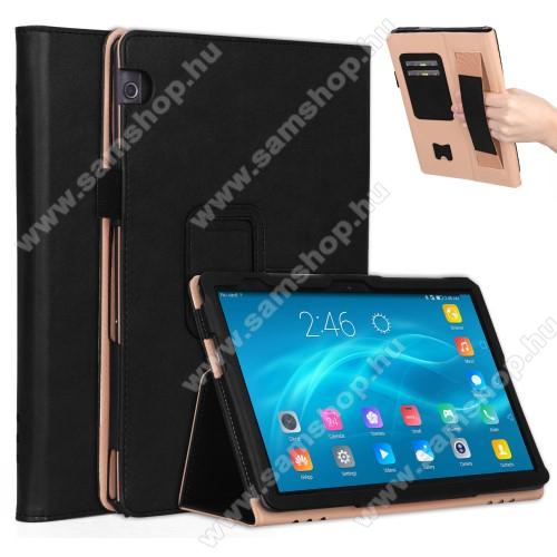 Notesz tok / mappa tok - FEKETE - asztali tartó funkciós, oldalra nyíló, bankkártya tartó, rejtett mágneses záródás, csuklópánt, műbőr belső - HUAWEI MediaPad T5 10