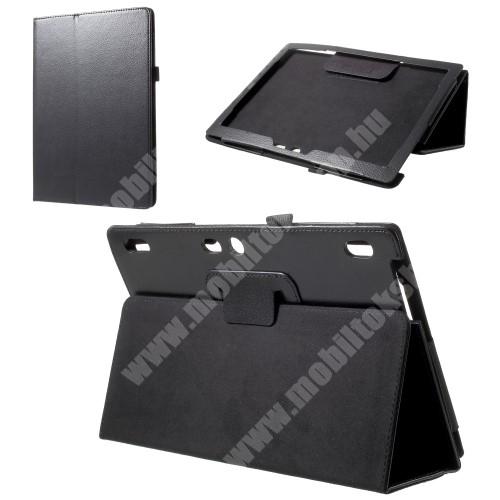 Notesz tok / mappa tok - FEKETE - asztali tartó funkciós, oldalra nyíló, bankkártya tartó, tolltartó, műbőr belső - Lenovo Tab 3 Plus (TB3-X70F)