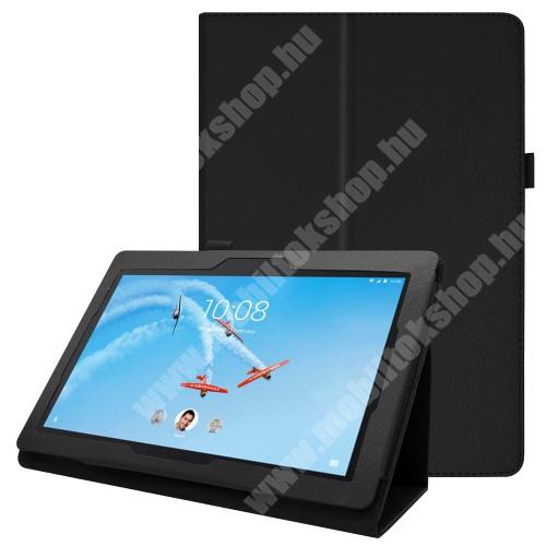 Notesz tok / mappa tok - FEKETE - asztali tartó funkciós, oldalra nyíló, tolltartó, műbőr belső - Lenovo Tab E10