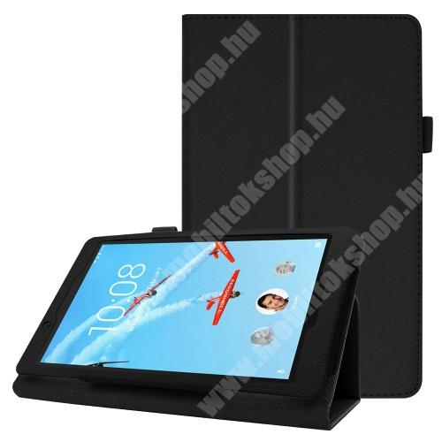 Notesz tok / mappa tok - FEKETE - asztali tartó funkciós, oldalra nyíló, tolltartó, műbőr belső - Lenovo Tab E8 (TB-8304F1)