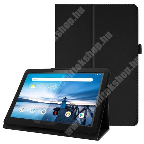 Notesz tok / mappa tok - FEKETE - asztali tartó funkciós, oldalra nyíló, tolltartó, műbőr belső - Lenovo Tab M10 (TB-X605F)