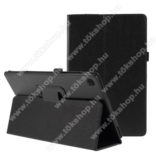 Notesz tok / mappa tok - FEKETE - asztali tartó funkciós, oldalra nyíló, bankkártya tartó, tolltartó, műbőr belső - SAMSUNG SM-T725 Galaxy Tab S5e 10.5 LTE / SAMSUNG SM-T720 Galaxy Tab S5e 10.5 Wi-Fi