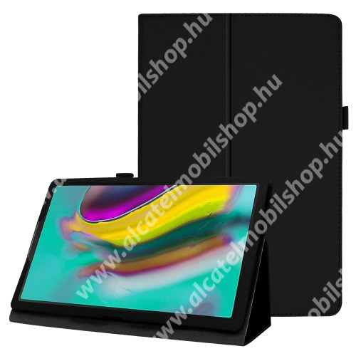 Notesz tok / mappa tok - FEKETE - asztali tartó funkciós, oldalra nyíló, tolltartó, műbőr belső - SAMSUNG Galaxy Tab A 10.1 Wi-Fi (2019) (SM-T510) / SAMSUNG Galaxy Tab A 10.1 LTE (2019) (SM-T515)