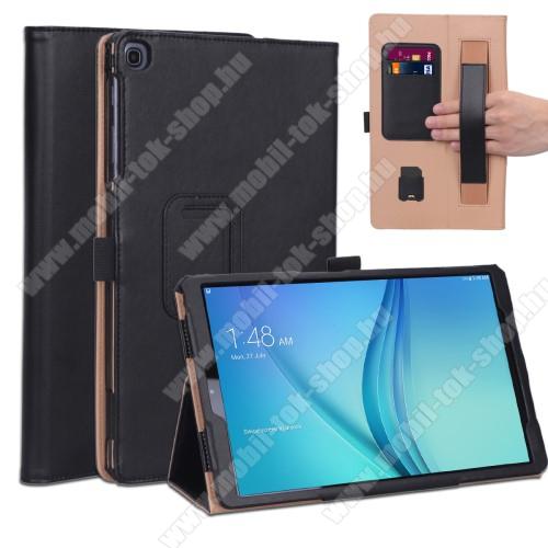 Notesz tok / mappa tok - FEKETE - asztali tartó funkciós, oldalra nyíló, bankkártya tartó, csuklópánt, tolltartó, műbőr belső - SAMSUNG Galaxy Tab A 10.1 Wi-Fi (2019) (SM-T510) / SAMSUNG Galaxy Tab A 10.1 LTE (2019) (SM-T515)