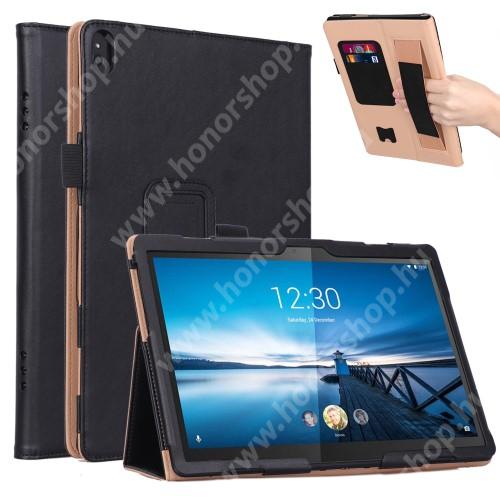 Notesz tok / mappa tok - FEKETE - asztali tartó funkciós, oldalra nyíló, bankkártya tartó, csuklópánt, tolltartó, műbőr belső - Lenovo Tab M10 (TB-X605F / TB-X505F)