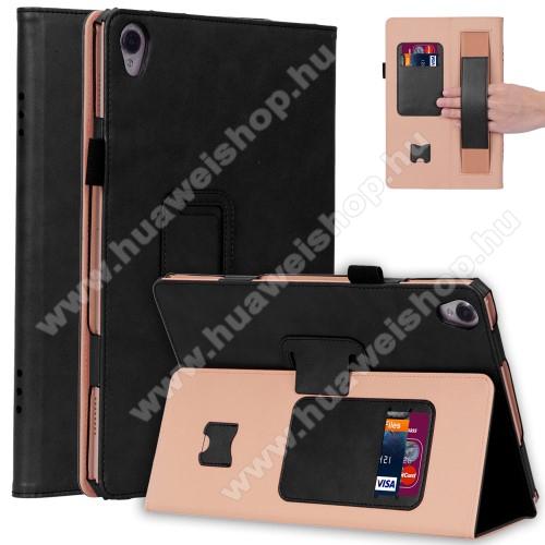 Notesz tok / mappa tok - FEKETE - asztali tartó funkciós, oldalra nyíló, bankkártya tartó, csuklópánt, tolltartó, műbőr belső - HUAWEI MediaPad M6 10.8