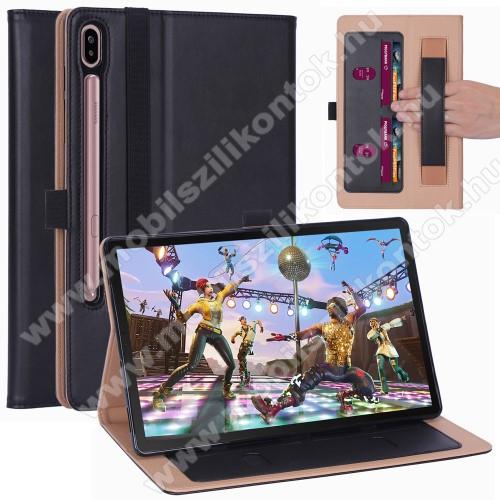 Notesz tok / mappa tok - FEKETE - asztali tartó funkciós, oldalra nyíló, bankkártya tartó, csuklópánt, tolltartó, szilikon belső - SAMSUNG SM-T860 Galaxy Tab S6 (Wi-Fi) / SAMSUNG SM-T865 Galaxy Tab S6 (LTE)