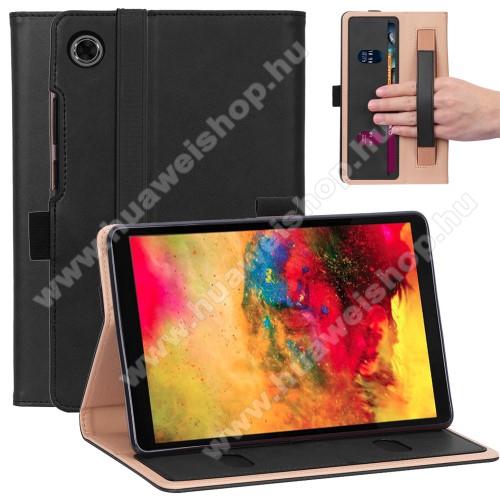 Notesz tok / mappa tok - FEKETE - asztali tartó funkciós, oldalra nyíló, bankkártya tartó, kézpánt, tolltartó, műbőr belső - HUAWEI MatePad T8
