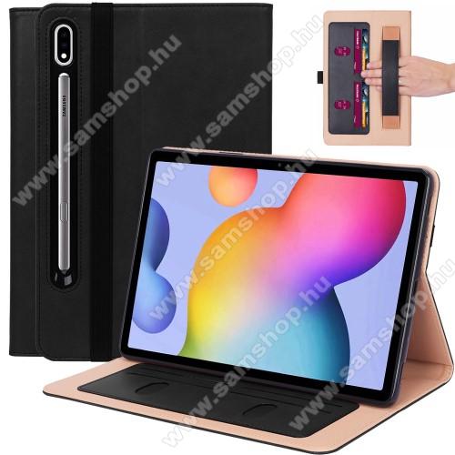 SAMSUNG Galaxy Tab S7 Plus (SM-T970/T976B)Notesz tok / mappa tok - FEKETE - asztali tartó funkciós, oldalra nyíló, bankkártya tartó, csuklópánt, tolltartó kivágás, szilikon belső, gumis záródás - SAMSUNG Galaxy Tab S7 Plus (SM-T970/T976B)