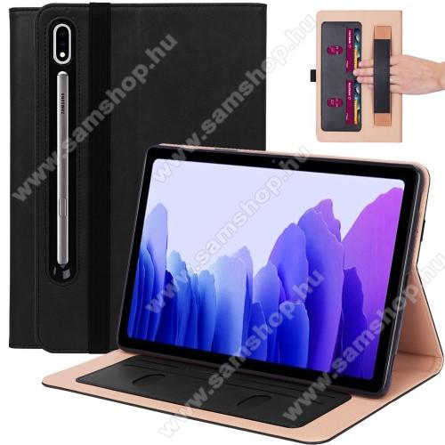 SAMSUNG Galaxy Tab S7 (SM-T870/T875/T876B)Notesz tok / mappa tok - FEKETE - asztali tartó funkciós, oldalra nyíló, bankkártya tartó, csuklópánt, tolltartó kivágás, szilikon belső, gumis záródás - SAMSUNG Galaxy Tab S7 (SM-T870/T875/T876B)