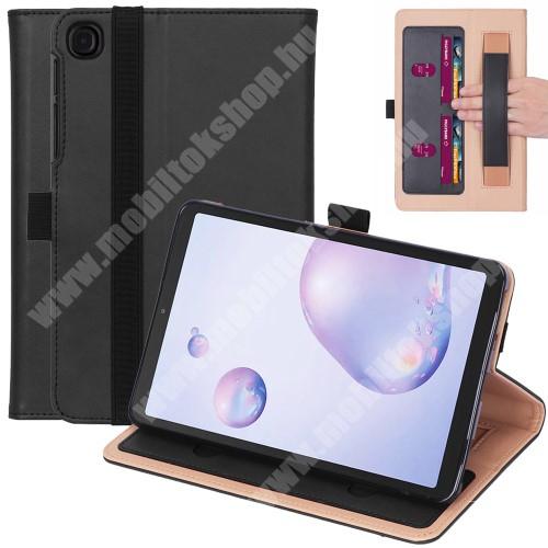 Notesz tok / mappa tok - FEKETE - asztali tartó funkciós, oldalra nyíló, bankkártya tartó zsebek, csuklópánt, tolltartó, szilikon belső - SAMSUNG Galaxy Tab A7 10.4 (2020) (SM-T500/SM-T505)