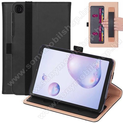 Notesz tok / mappa tok - FEKETE - asztali tartó funkciós, oldalra nyíló, bankkártya tartó zsebek, csuklópánt, tolltartó, szilikon belső, gumis záródás - SAMSUNG Galaxy Tab A7 10.4 (2020) (SM-T500/SM-T505)