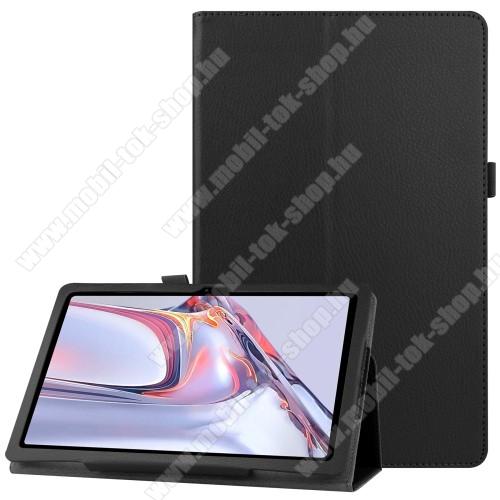 Notesz tok / mappa tok - FEKETE - asztali tartó funkciós, oldalra nyíló, tolltartó, műbőr belső - SAMSUNG Galaxy Tab A7 10.4 (2020) (SM-T500/SM-T505)
