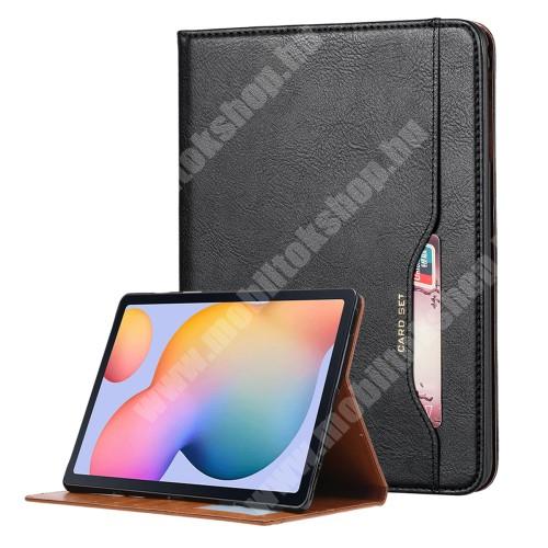 Notesz tok / mappa tok - FEKETE - asztali tartó funkciós, oldalra nyíló, mágneses záródás, bankkártya tartó zsebek külső/belső, szilikon belső - SAMSUNG Galaxy Tab A7 Lite (SM-T220 / SM-T225)