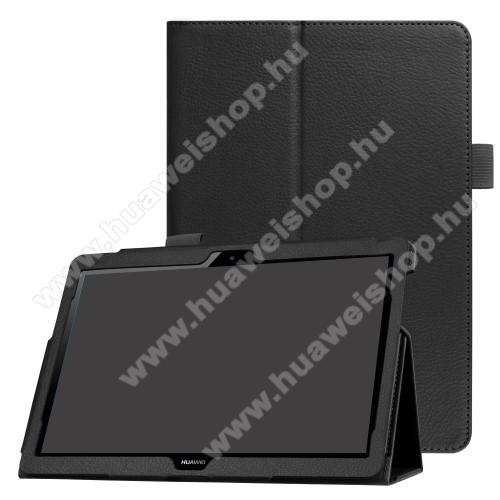 Notesz tok / mappa tok - FEKETE - asztali tartó funkciós, oldalra nyíló, rejtett mágneses záródás - HUAWEI MediaPad T3 10