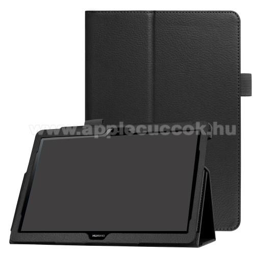 Notesz tok / mappa tok - FEKETE - asztali tart� funkci�s, oldalra ny�l�, rejtett m�gneses z�r�d�s - HUAWEI MediaPad T3 10