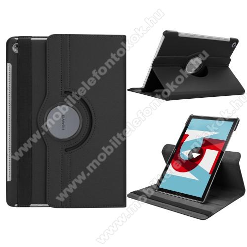 Notesz tok/ mappa tok - FEKETE - gumis záródás, asztali tartó funkcióval, 360°-ban elforgatható - HUAWEI MediaPad M5 10 (2018) / HUAWEI MediaPad M5 10 Pro (2018)