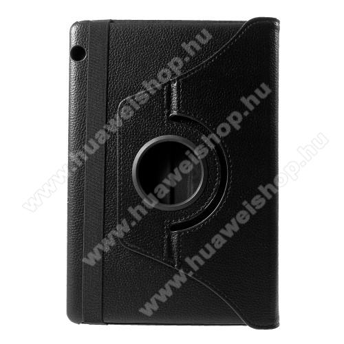Notesz tok / mappa tok - FEKETE - gumis záródás, asztali tartó funkcióval, 360°-ban elforgatható, műanyag belső - HUAWEI MediaPad T5 10