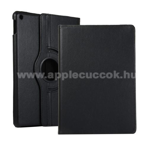 Notesz tok / mappa tok - FEKETE - gumis záródás, asztali tartó funkcióval, 360°-ban elforgatható, műanyag belső - APPLE iPad 10.2 (7th Generation)