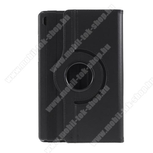 Notesz tok/ mappa tok - FEKETE - gumis záródás, asztali tartó funkcióval, 360°-ban elforgatható, műanyag belső - SAMSUNG Galaxy Tab A7 10.4 (2020) (SM-T500/SM-T505)