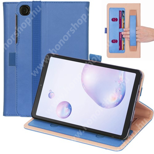Notesz tok / mappa tok - KÉK - asztali tartó funkciós, oldalra nyíló, bankkártya tartó zsebek, csuklópánt, tolltartó, szilikon belső, gumis záródás - SAMSUNG Galaxy Tab A7 10.4 (2020) (SM-T500/SM-T505)