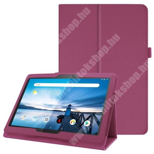 Notesz tok / mappa tok - LILA - asztali tartó funkciós, oldalra nyíló, tolltartó, műbőr belső - Lenovo Tab P10 (TB-X705F)